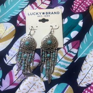 Lucky Brand Turquoise Dream Catcher Earrings BN